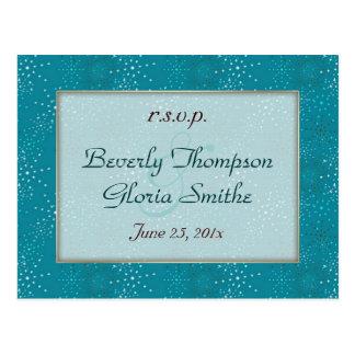 Teal Galaxy Wedding RSVP Postcard