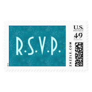 Teal Galaxy Wedding RSVP stamps