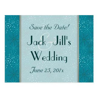 Teal Galaxy WEDDING Save The Date Postcard