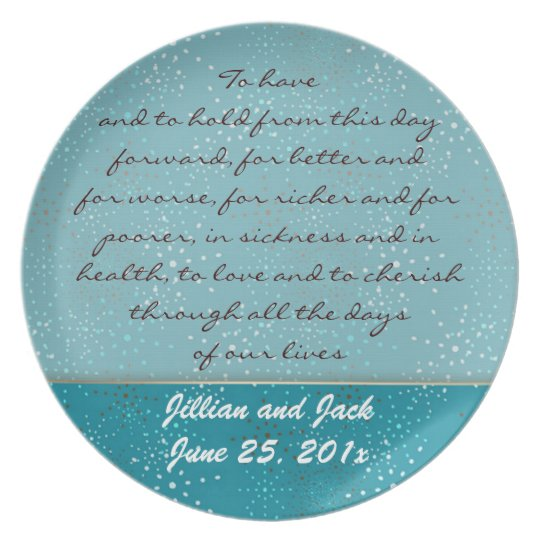 Teal Galaxy WEDDING Vows Display Plate