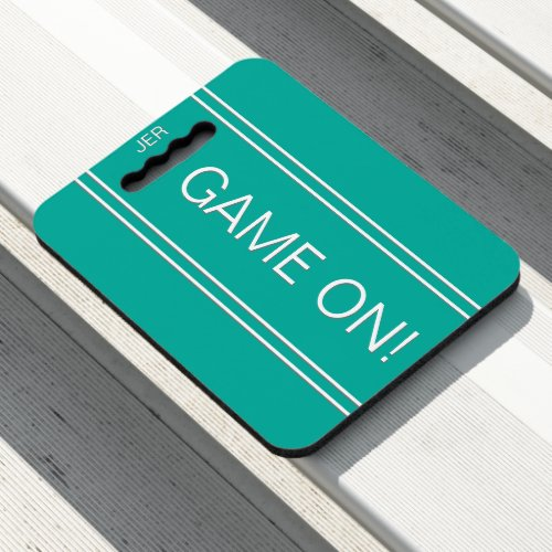 Teal GAME ON Monogrammed Initials Stadium Sports Seat Cushion