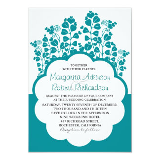 teal garde wedding invitation with blooming hearts