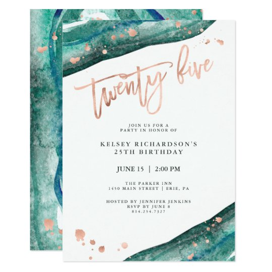 Teal Geode And Faux Rose Gold Look 25th Birthday Invitation