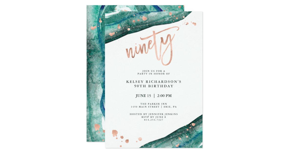 Cool Teal Geode And Faux Rose Gold Look 90Th Birthday Invitation Funny Birthday Cards Online Barepcheapnameinfo