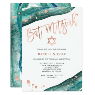 Teal Geode and Faux Rose Gold Look Bat Mitzvah Card