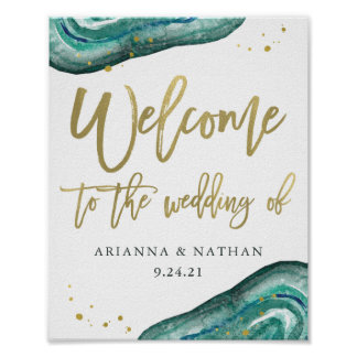 Teal Geode and Gold Wedding Welcome Poster