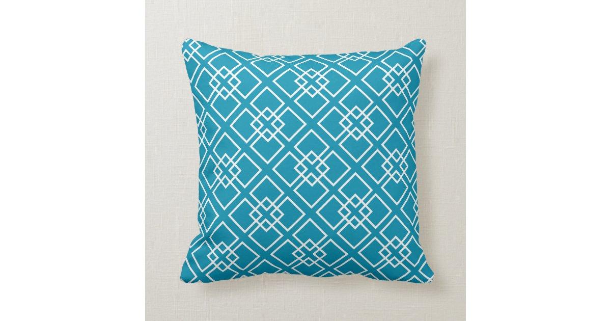 Teal Geometric Diamond Pattern Throw Pillow | Zazzle