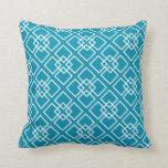 Teal Geometric Diamond Pattern Throw Pillow