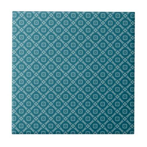 Teal Geometric Diamonds Pattern Ceramic Tile | Zazzle