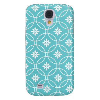 Teal Geometric Floral Pattern Samsung Galaxy S4 Cover