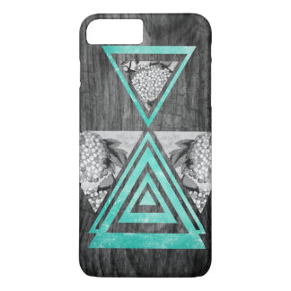 Teal geometric floral wood iPhone 7 plus case