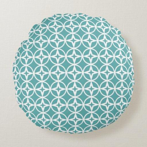 Teal Geometric Pattern Round Pillow | Zazzle