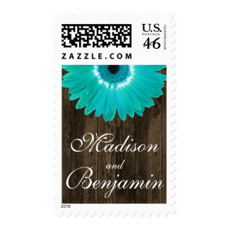 Teal Gerber Daisy Rustic Barn Wood Wedding Stamp