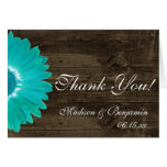 Teal Gerber Daisy Rustic Wedding Thank You Cards