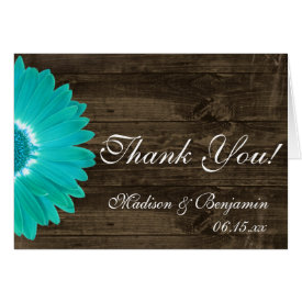 Teal Gerber Daisy Rustic Wedding Thank You Cards