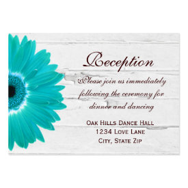 Teal Gerber Daisy Wedding Reception Direction Card Business Card Template