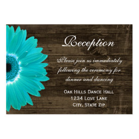 Teal Gerber Daisy Wedding Reception Direction Card Business Card