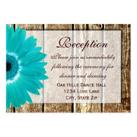 Teal Gerber Daisy Wedding Reception Direction Card Business Cards
