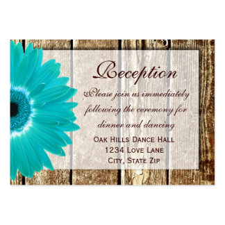Teal Gerber Daisy Wedding Reception Direction Card Large Business Cards (Pack Of 100)