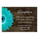 Teal Gerber Daisy Wedding Reception Direction Card Large Business Card