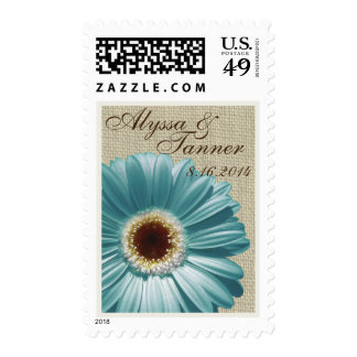 Teal Gerbera Daisy and Burlap Postage Stamp