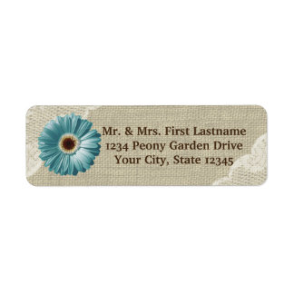 Teal Gerbera Daisy and Lace Label