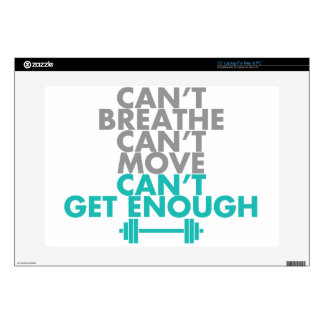 """Teal """"Get Enough"""" Decal For 15"""" Laptop"""