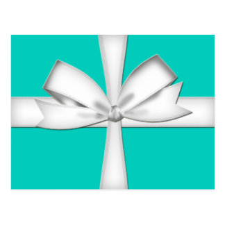 Teal Gift Card with Bow Postcard