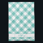 "Teal Gingham Monogram Towel<br><div class=""desc"">Our pretty monogrammed kitchen towel updates the classic gingham motif in a generous scale,  diagonal orientation and summery color palette of turquoise teal and white. Add a three initial monogram in coordinating aqua at the bottom if desired for a unique housewarming present or hostess gift.</div>"