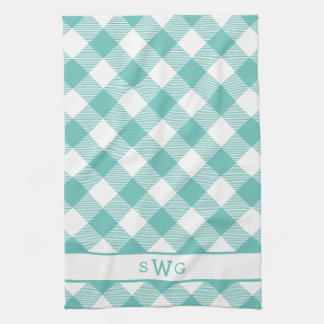 Teal Gingham Monogram Towel