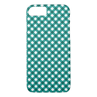 Teal Gingham Pattern iPhone 7 case