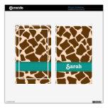 Teal Giraffe Print Kindle Fire Skin