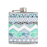 Teal Girly Floral White Abstract Aztec Pattern Flasks