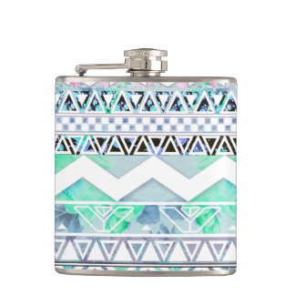 Teal Girly Floral White Abstract Aztec Pattern Hip Flask