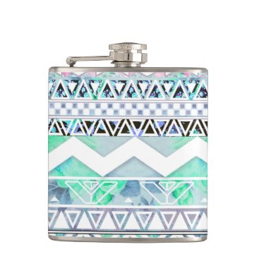 Aztec Themed Teal Girly Floral White Abstract Aztec Pattern Hip Flask