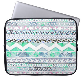 Teal Girly Floral White Abstract Aztec Pattern Laptop Sleeve