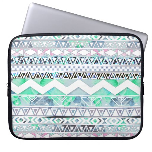 Teal Girly Floral White Abstract Aztec Pattern Computer Sleeves
