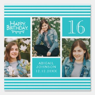 Teal Girly Photo Collage Any Age Happy Birthday Sign