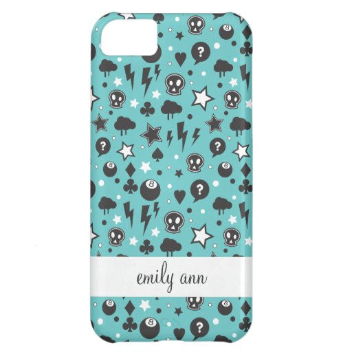 Teal Girly Punk Pattern iPhone 5C Cases