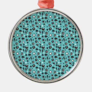 Teal Girly Punk Pattern Metal Ornament