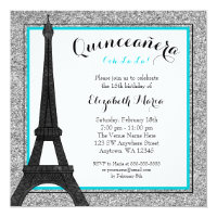 Teal Glam Paris Faux Silver Glitter Quinceanera Card
