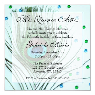 Teal Glam Peacock Feather Quinceanera Birthday Personalized Invitations
