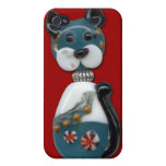 Teal Glass Bead Cat iPhone 4/4S Case