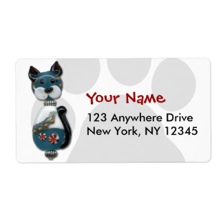 Teal Glass Bead Cat Shipping Label