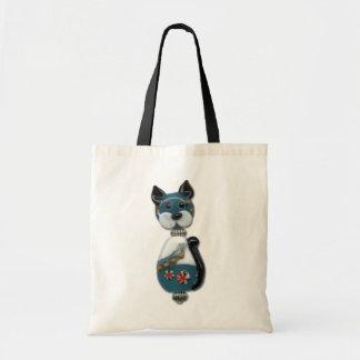Teal Glass Bead Cat Tote Bag
