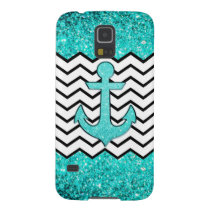Teal glitter anchor and chevron case for galaxy s5