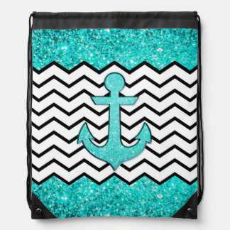 Teal glitter anchor and chevron drawstring backpack