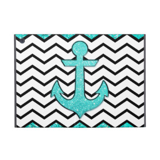 Teal glitter anchor and chevron iPad mini covers