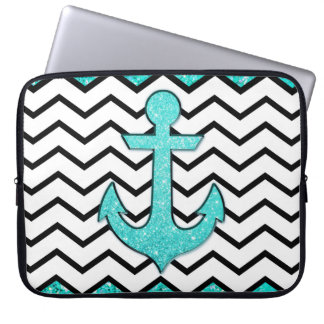 Teal glitter anchor and chevron laptop computer sleeves
