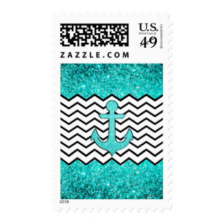 Teal glitter anchor and chevron postage